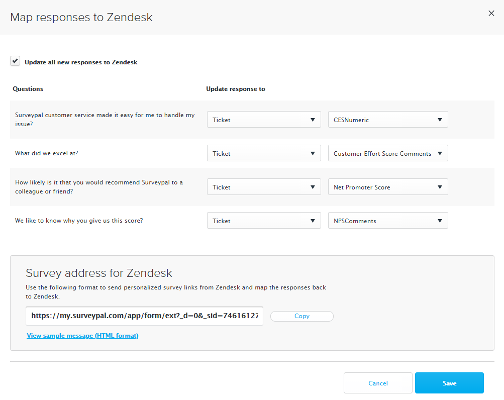 Connect to Zendesk and add mappings – Surveypal on